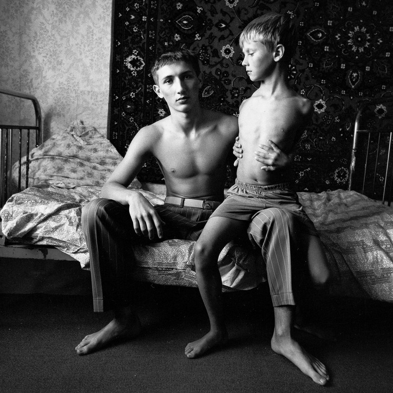 Jenya and Vitally on a Spring Bed, Russia 2003