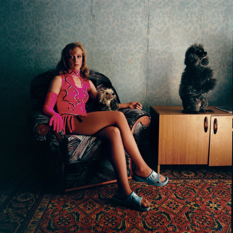 Lena with her poodles, Russia 2004